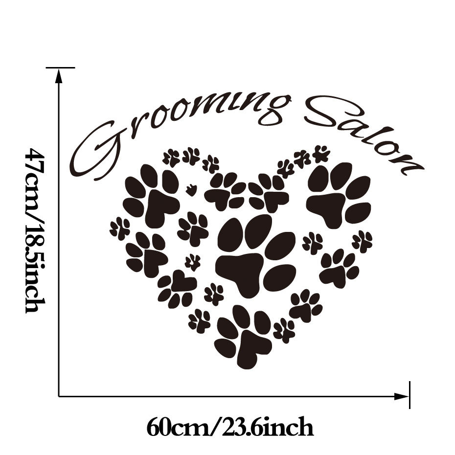 Heart-Shape Dog Paws Vinyl Wall Decal Creative Pet Grooming Salon Shop Art Mural Sticker Removable Kids Bedroom Decal Home Decor