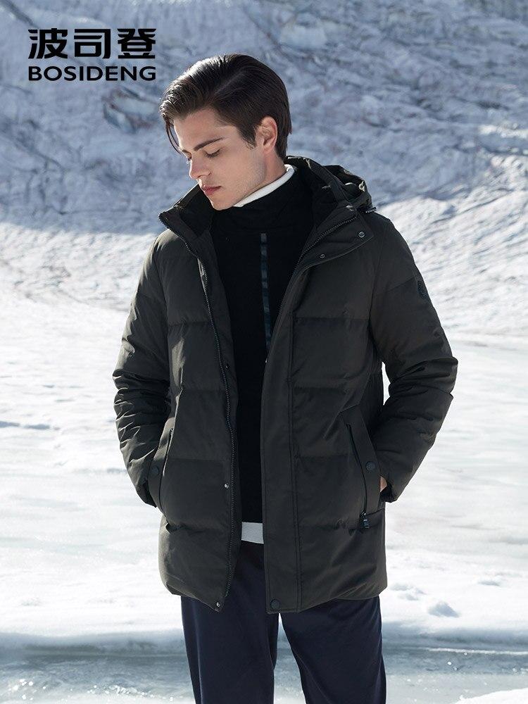 BOSIDENG inverno addensare down jacket per gli uomini con cappuccio giù cappotto caldo outwear mid lungo regular top impermeabile sei colori b80141021 - 4