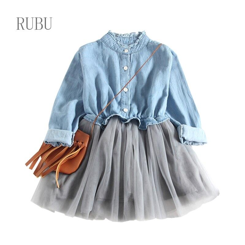 Children Clothing Dress 2018 New Spring Fashion Style Girls Cowboy Long-Sleeve Mesh Dress Design For 3-8Y Kids Girls Cloth Dress