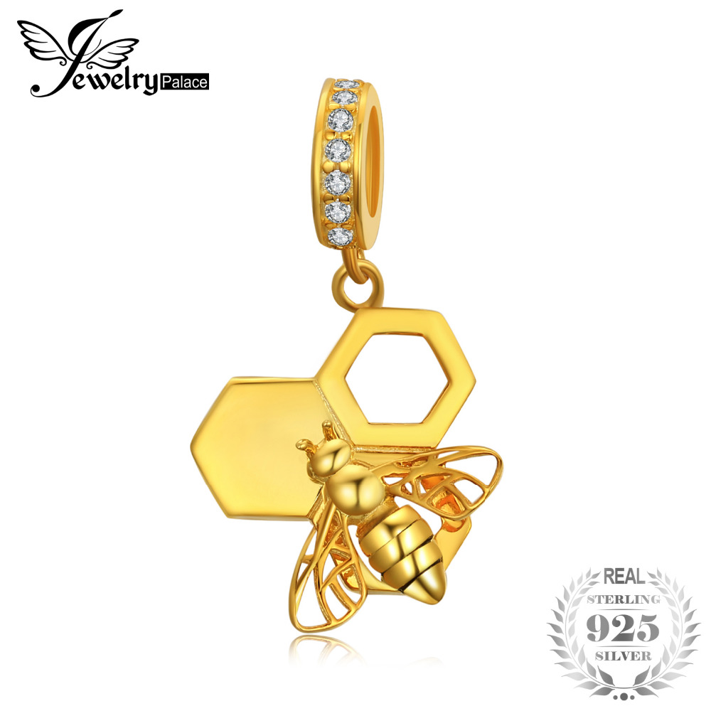 JewelryPalace Bumble Bee Honeycomb Cubic Zirconia Dangle Charm Gold inlay 925 Sterling Silver Charm Fit BraceletsJewelryPalace Bumble Bee Honeycomb Cubic Zirconia Dangle Charm Gold inlay 925 Sterling Silver Charm Fit Bracelets