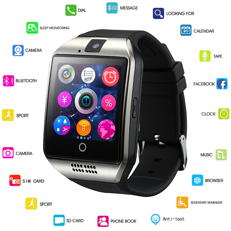 Q18 Mit Kamera Facebook Whatsapp Twitter Sync SMS Smartwatch Unterstützung SIM TF Karte Für IOS Android GEJIAN Bluetooth Smart Uhr