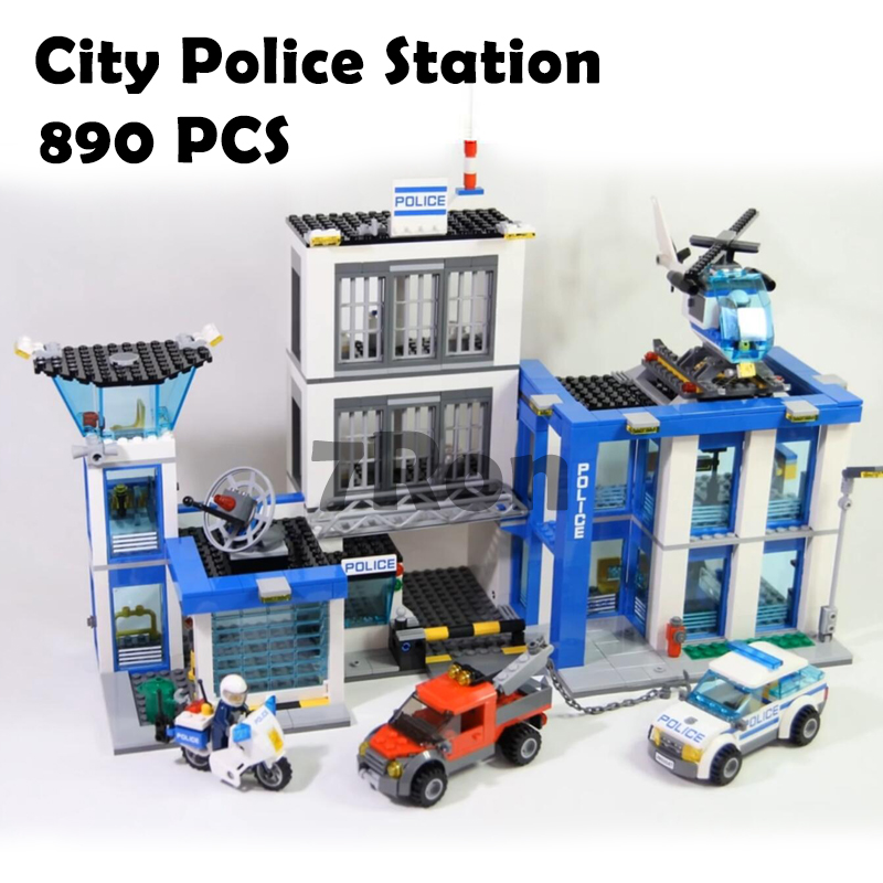 10424 City Police Station motorbike helicopter Model building kits compatible with lego city 60047 blocks Educational toys 519pcs city police station building blocks action figures set transform robot compatible with 60047 for kid gift