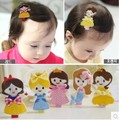 Children's Cartoon Princess Embroidery Baby Girls Hair Accessories Headdress Hairpin Side Clip Modeling Series Factory Direct
