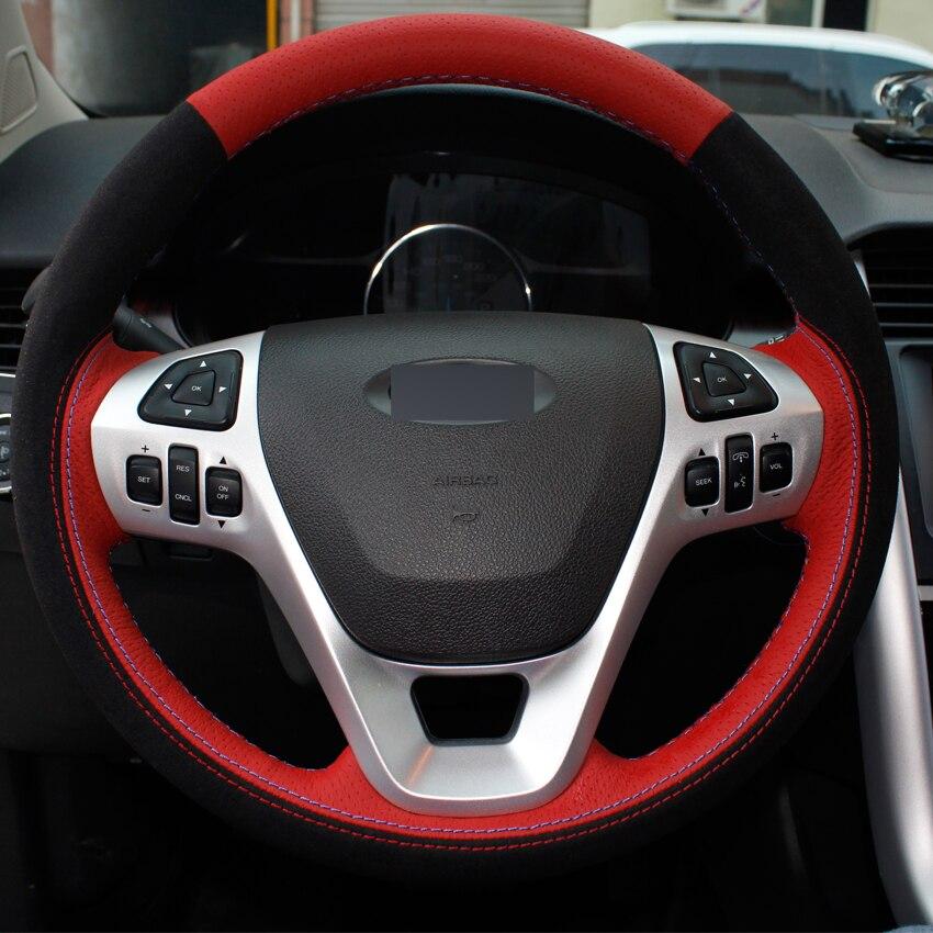 xuji black blue orange genuine leather suede car steering wheel cover for ford explorer 2011