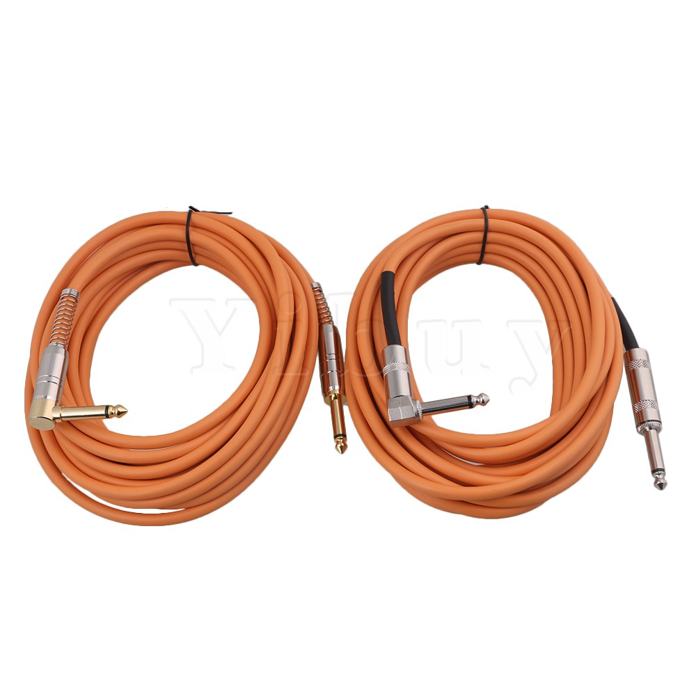 yibuy 2pcs 6M Orange PVC Copper Core Guitar Patch Cable Cord 1/4 Right Angle to Straight Plugs for Microphone/DMX Signal Line right angle 1 4 mono guitar effect pedal board cable patch cord 25cm