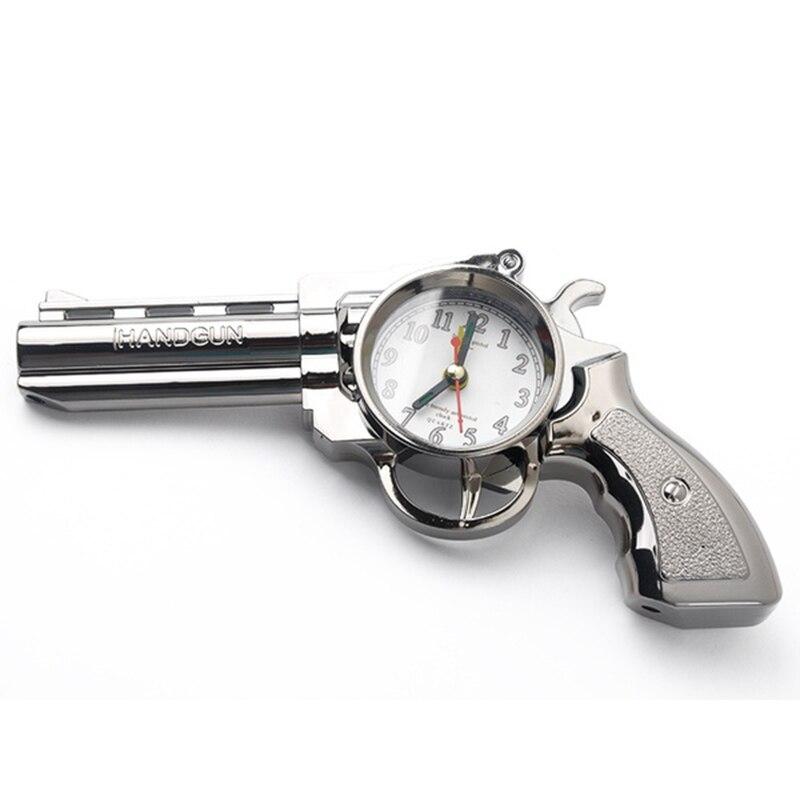 Novelty Pistol Gun Shape Alarm Watch Clock Desk Table Home Office Decor Gifts novelty run around wake up n catch me digital alarm clock on wheels white 4 aaa