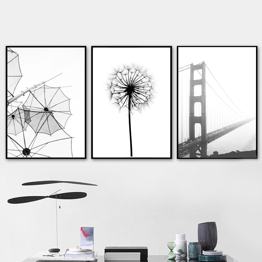 Bridge Dandelion Dancer Bird Wall Art Canvas Painting Nordic Posters And Prints Black White Wall Pictures For Living Room Decor in Painting Calligraphy from Home Garden
