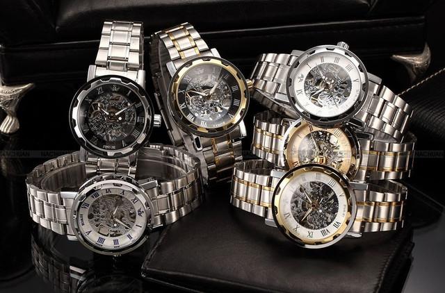 Reloj mecánico esqueleto de acero inoxidable