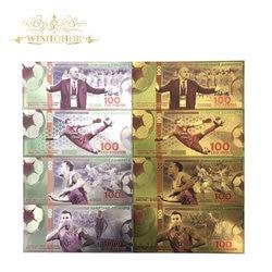 8 шт./лот цветные банкноты Россия команда банкноты 100 рубл копия золота 24 к бумажные деньги для коллекционирования