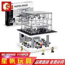Senbo 6900 Apple Flagship Store With Light Set  Street Building Blocks Bricks Kids Toys For Children Christmas Compatible City