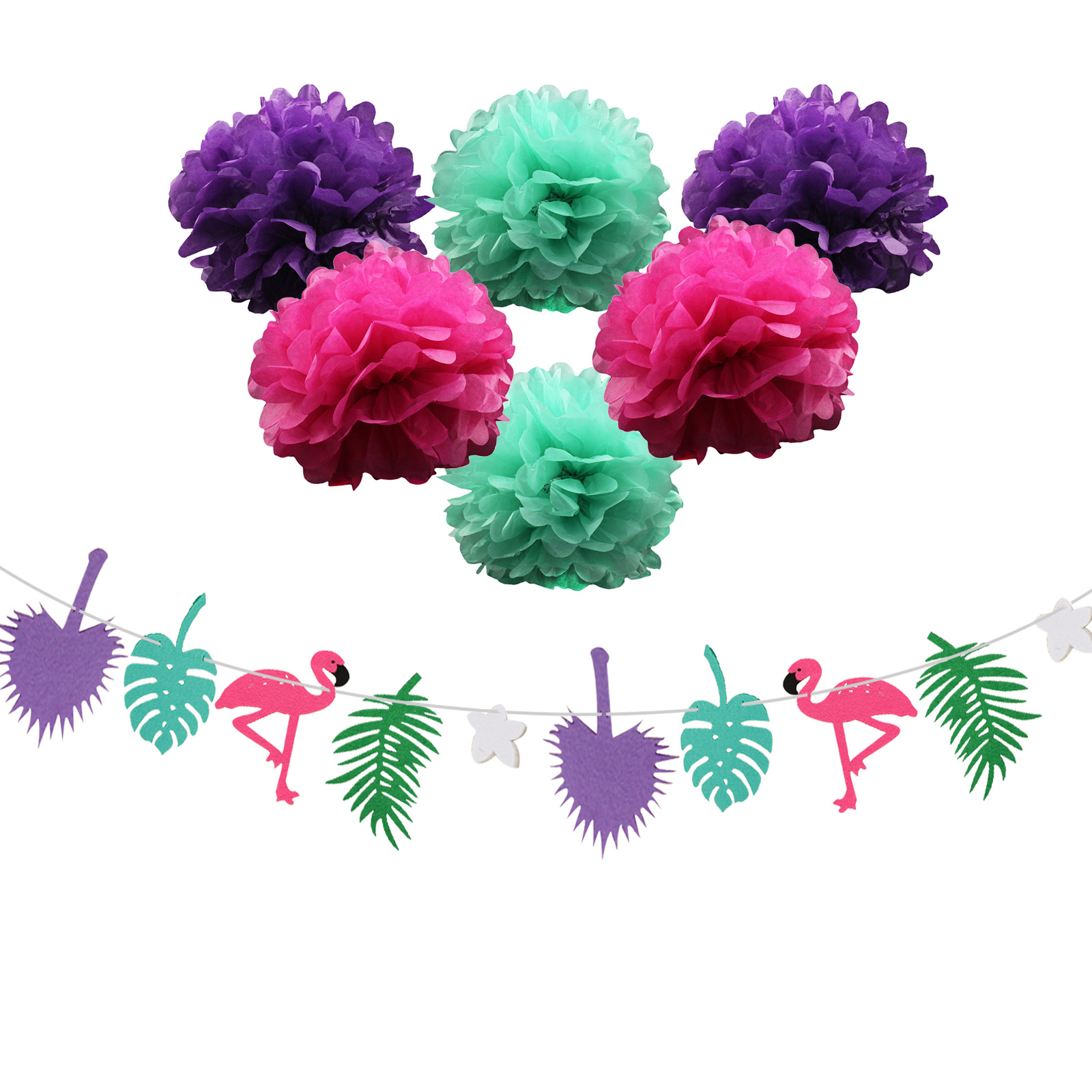 1 set paper flower flamingo garland coconut leaves hawaiian luau 1 set paper flower flamingo garland coconut leaves hawaiian luau tropical happy birthday flag banner party decoration supplies in party diy decorations from izmirmasajfo