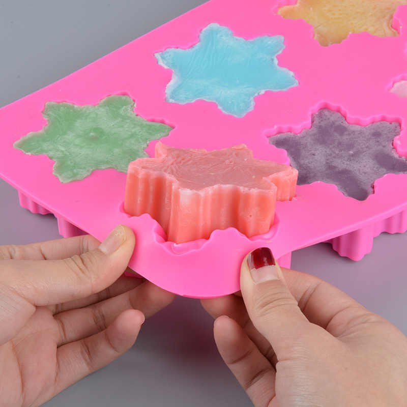 6 форм, силиконовая форма для мыла, 3d Снежинка, форма для мыла, безопасная ручная работа, ремесло, цветы, ванная комната, кухня, формы для мыла