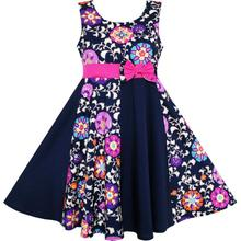Asymmetric Flower Bow Tie Sleeveless Party Dress Size 7-14Yrs