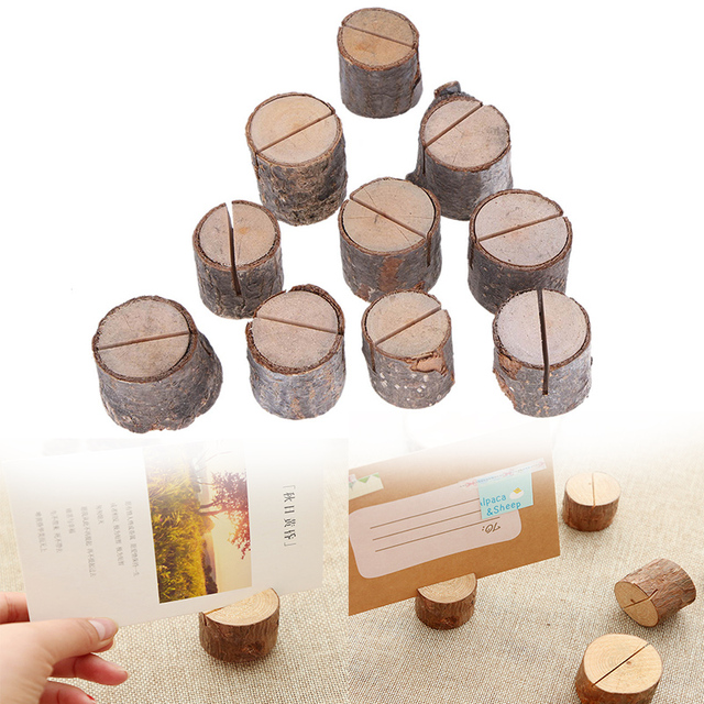 Wedding Decoration Wooden Name Place Card Holders Stump Shape Stand Number Name Table Menu Holder Party Supplies