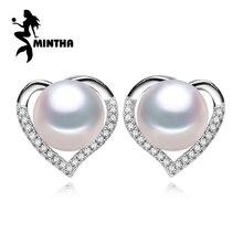 MINTHA Coração jóias, bonito brincos de pérolas naturais para as mulheres jóia da pérola Do Parafuso Prisioneiro Brincos para acessórios amor feminino e contas