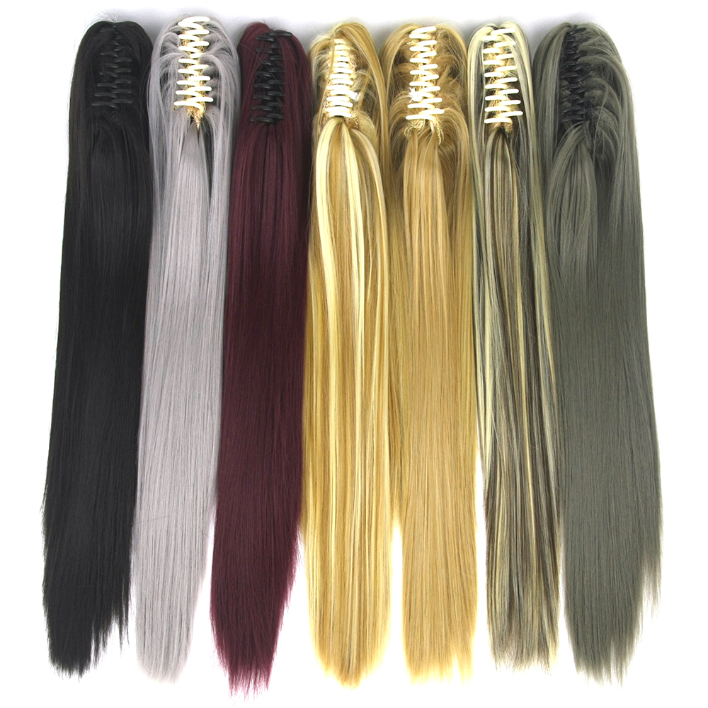 Soowee 15 Colors 55cm Straight Clip In Hairpiece Hair Extensions Blonde Gray Little Pony Tail Synthetic