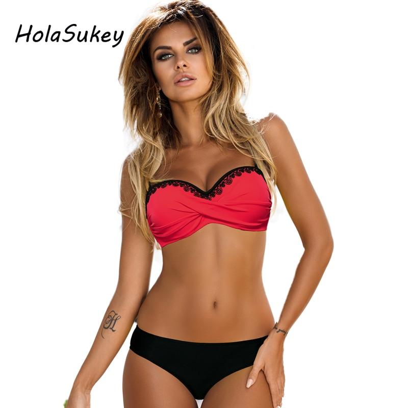 HolaSukey 2018 Sexy Solid Bikini New Patchwork Swimsuit Women Lace Bandeau Swimwear Female Bikini Set Summer Bathing Suits