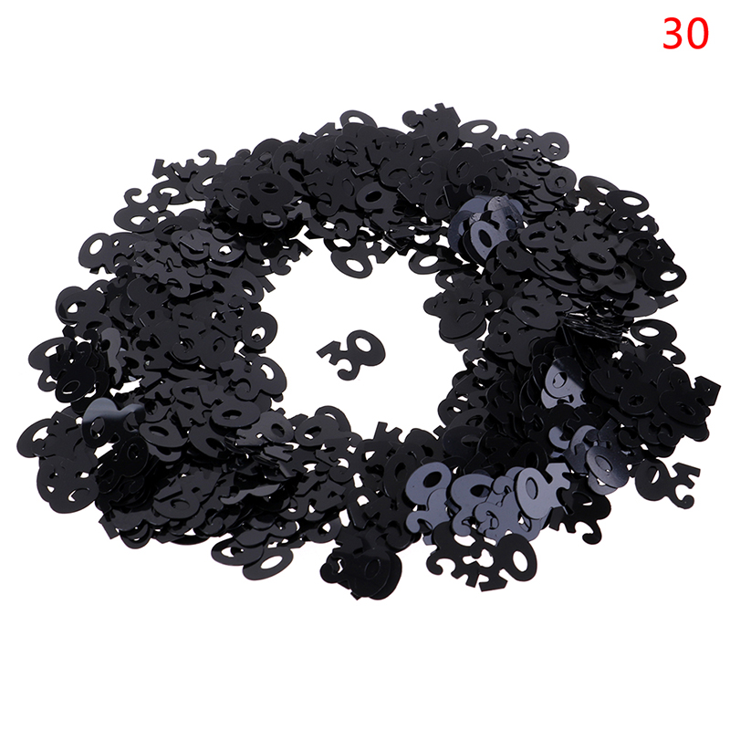 Hot Sale Happy Birthday Party Table Scatter Decorations Black Silver Mixed Number Digitals <font><b>30</b></font> 40 50 60 70 80 <font><b>Confetti</b></font> image