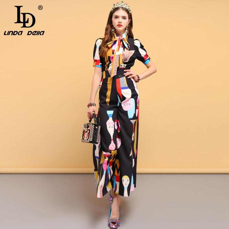 LD LINDA DELLA Frühling Mode Designer Anzüge frauen Fliege Hemd + Charakter Gedruckt Elegante Vintage Lange Hosen Zwei stück Set-in Damen-Sets aus Damenbekleidung bei  Gruppe 1