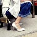 Simple Стиль Тонкий Каблук Женщины Сексуальные Насосы Обувь Сплошной Цвет Мелкая Рот Дамы Партии Обуви На Высоком Каблуке Высокого класса качество