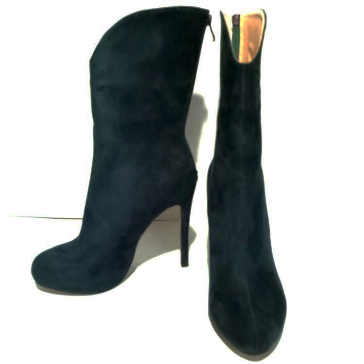 4 15 Ef05192 L'intention ef05191 Noir Femme Bottes Hauts De Minces Plus Mi mollet Chaussures Bout Élégant Rond Talons Vert Initiale Femmes Taille Mode RpwqH1R