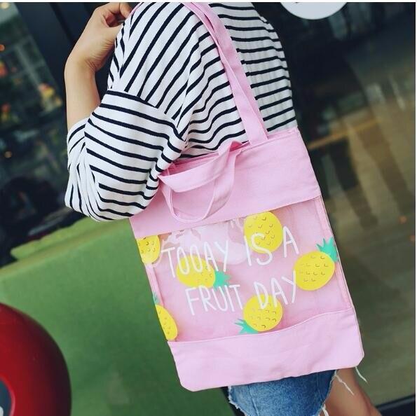 1 piece Shoulder Bag Fruit English Canvas Bag Transparent Shopping Bag Splice Handbag Beach Cute Women Jelly Ba