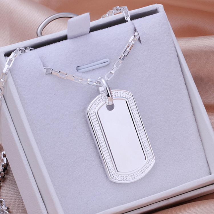 52eeb46d68d82 SPCN272 Men s Women s 925 Sterling Silver Dog Tag Pendant Necklace High  Quality Male Female 925 Sterling Silver Jewelry-in Pendant Necklaces from  Jewelry ...