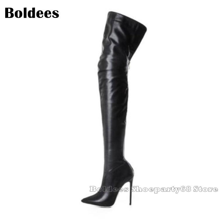 Fashion Elegant Leather Thin High Heeled Europe Designer Pointed Toe Over The Kness Boots Women Winter Long BootFashion Elegant Leather Thin High Heeled Europe Designer Pointed Toe Over The Kness Boots Women Winter Long Boot