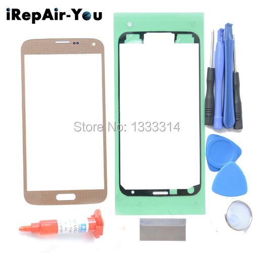 Front Screen Glass Lens Repair Kit for Samsung Galaxy S5 SM-G900M SM-G900F Outer Glass Touch Panel Replacement+uv glue Free Tool