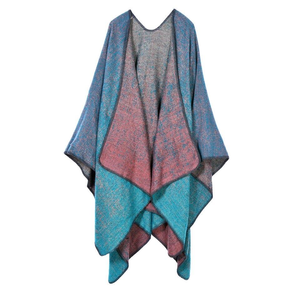 2018 Marque Femmes D hiver Poncho Vintage Couverture Lady Knit Châle Cape  femelle Écharpe Poncho de mode wraps épais femmes écharpe 86ea4ba0283