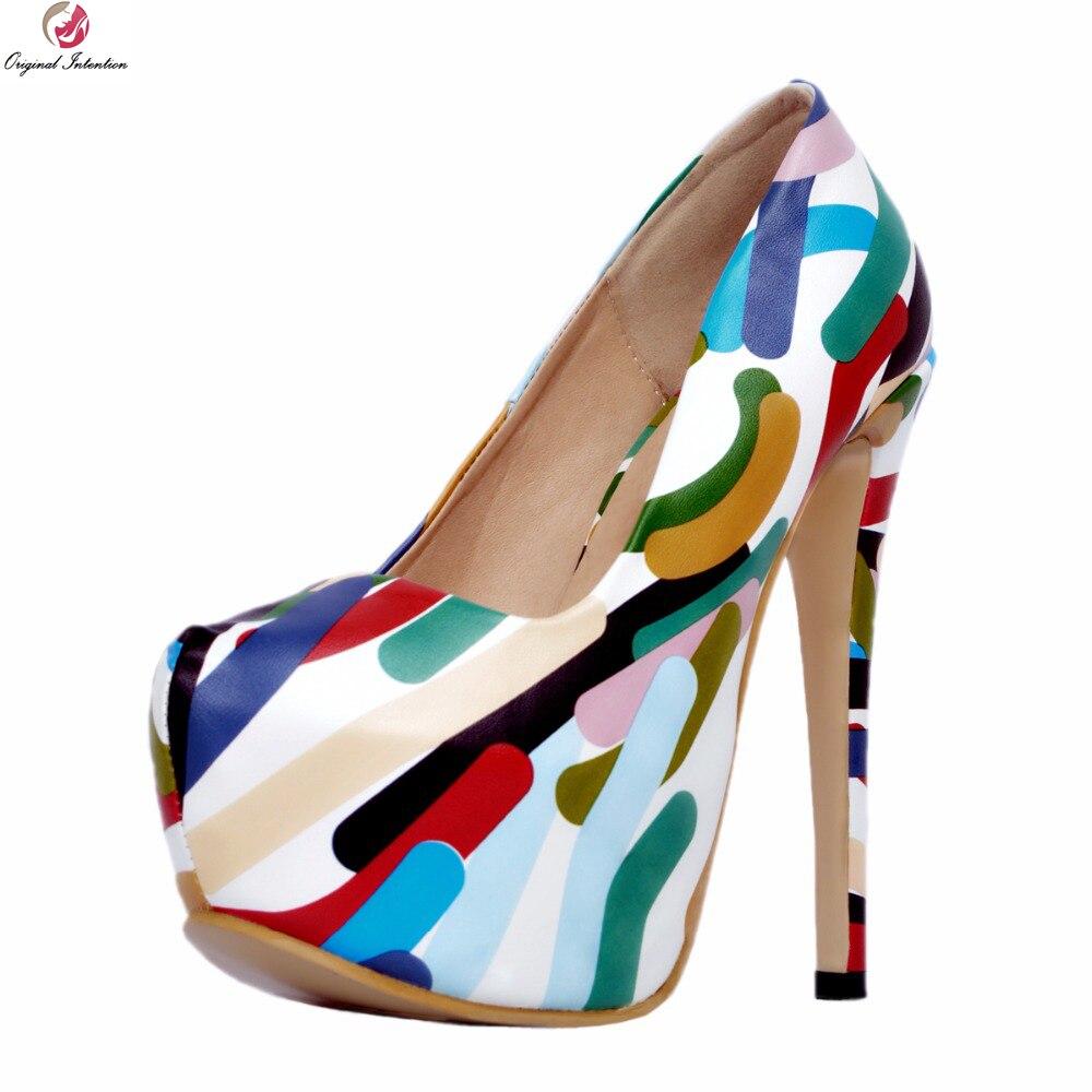 Фотография Original Intention Stylish Women Pumps Comfortable Round Toe Thin High Heels Pumps Multi Colors Shoes Woman Plus US Size 4-15