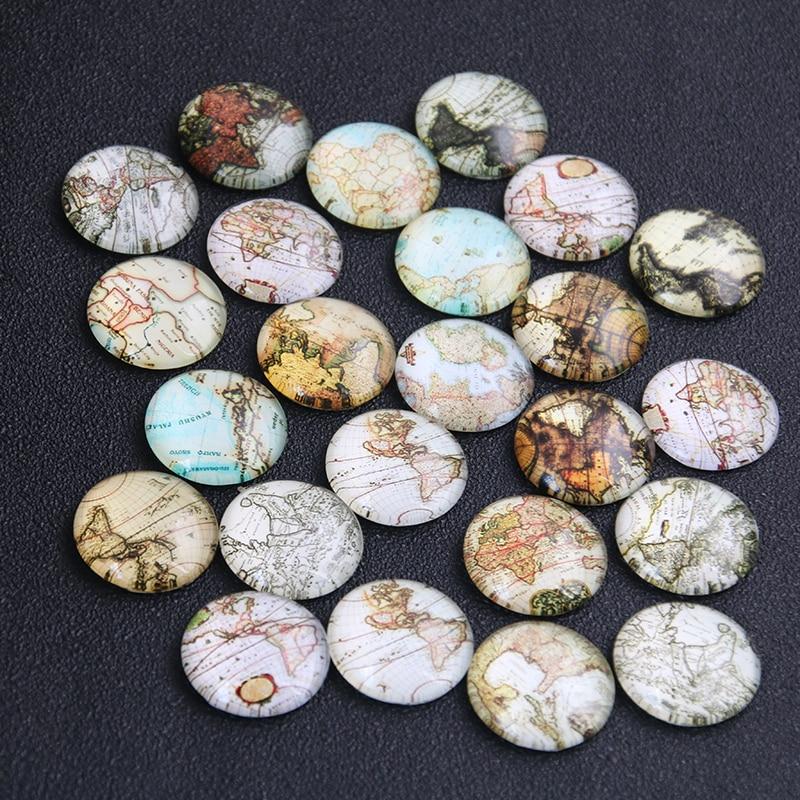 6pcs Mix World Map Pattern Round Glass Cabochon 20mm 25mm Dome Flat Back DIY Jewelry Finding