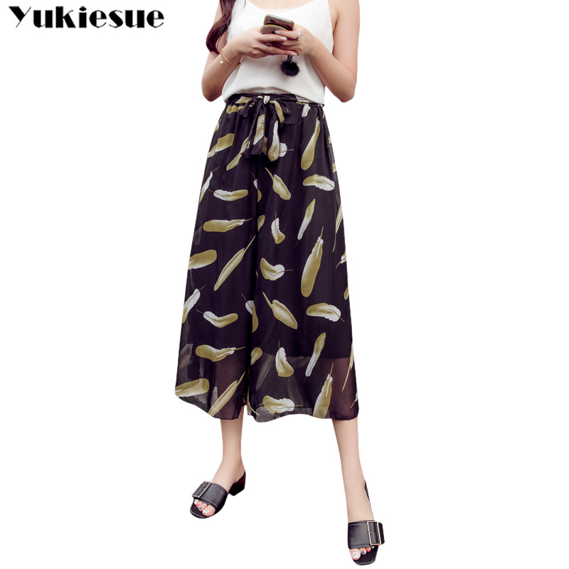 summer women's pants capris high waist beach chiffon wide leg pants for women trousers woman feather printed female Plus size
