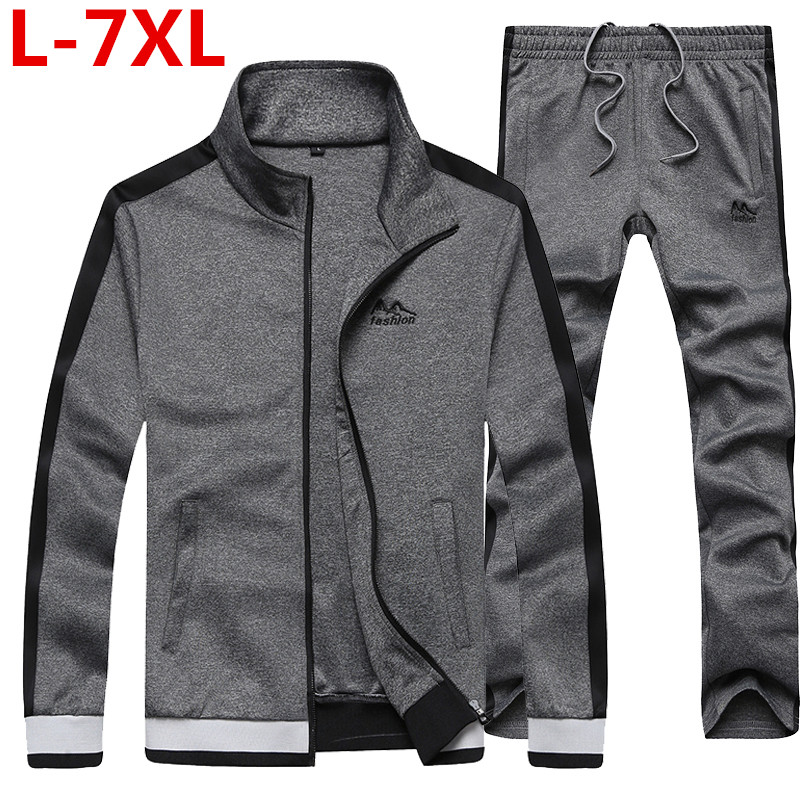 2018 Plus Size7XL 6XL 5XL New Fashion Spring Autumn Men Sporting Suit Jacket+Pant  Sweatsuit 2 Piece Set Tracksuit  Men Clothing