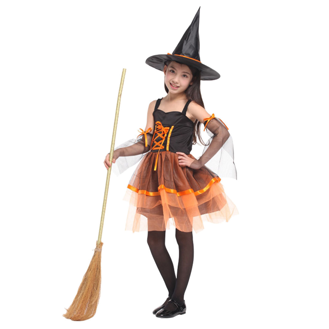 Children Kid's Party Halloween Witch Costume Cosplay Role Play One-piece Dress Cartoon Hats Set Without Broom- Orange + Black L