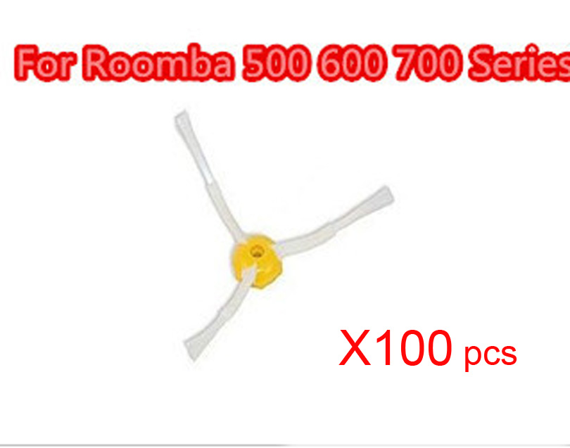 Wholesale 100pcs/set 3 armed hair side brush For IRobot Roomba x500 600 700 Series 550 560 620 760 770 780 790 etc Replacement bristle brush flexible beater brush fit for irobot roomba 500 600 700 series 550 650 660 760 770 780 790 vacuum cleaner parts