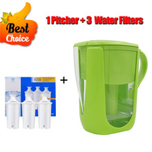 Household Kitchen Tap Water Purifier Water Filter Kettle 1 Pitcher+3 Cartridge Water Filters Carbon for Brita Filter Green