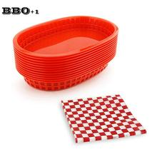 12pcs Large Fast Food Baskets set Dozen Bread Dinner Tray Serving Platter Plastic Food Trays Dinner Plates set Kitchen Utenseils
