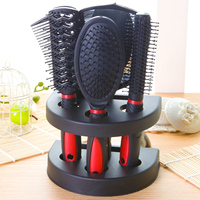 Red Purple Pink Blue Professional Hair Tools Styling Roller Massage Bush Comb Mirror Stand Holder Set Kit 5 Pack P064