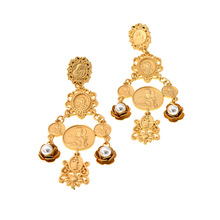 Brand Bohemian Big Drop Earrings For Women Large Wholesale Gold Color Ethnic Fashion Jewelry Vintage Coin Boho