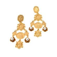 Brand Bohemian Big Drop Earrings For Women Large Wholesale Gold Color Earrings Ethnic Fashion Jewelry Vintage Coin Boho Earrings недорого