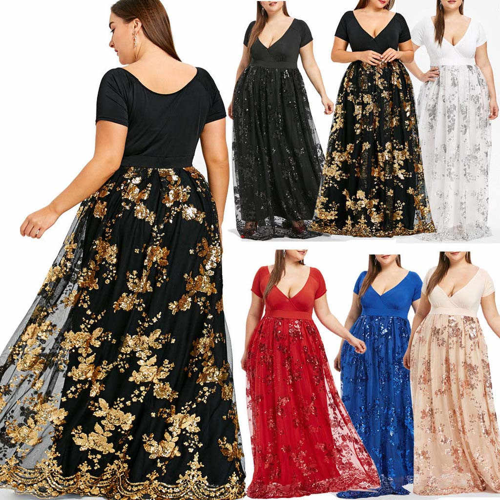 Summer Women Plus Size V-Neck Short Sleeve Beach casual dress women Bohemian Floral printed sexy Evening Party dresses #618