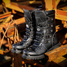 Army Boots Men Military Boots 2019 Leather Winter Black cowboy snow Metal Gothic Punk Boots Male Shoes Motorcycle Martin boots zero more army boots men high military combat boots metal buckle punk mid calf male motorcycle boots zipper men s shoes parade