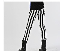 Fashion Men S Designer Slim Fit Black White Striped Pant With Pockets 2015 Brand New Night