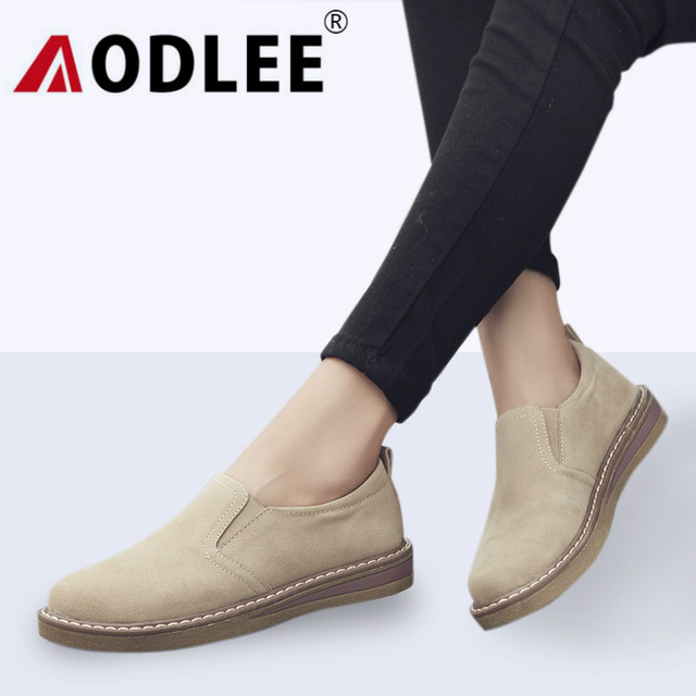 AODLEE Autumn Women Oxford Shoes Casual Flats Shoes Women Leather Shoes Woman Loafers Boat shoes Slip on Round toe moccasins