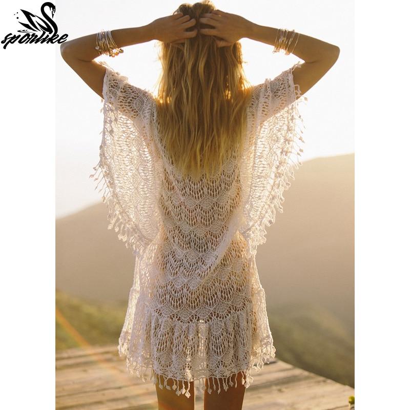 60631ea096 New Arrivals Sexy Beach Cover up White Crochet Tassel Robe de Plage Pareos  for Women Swim Wear Saida de Praia Beachwear Coverups-in Cover-Ups from  Sports ...
