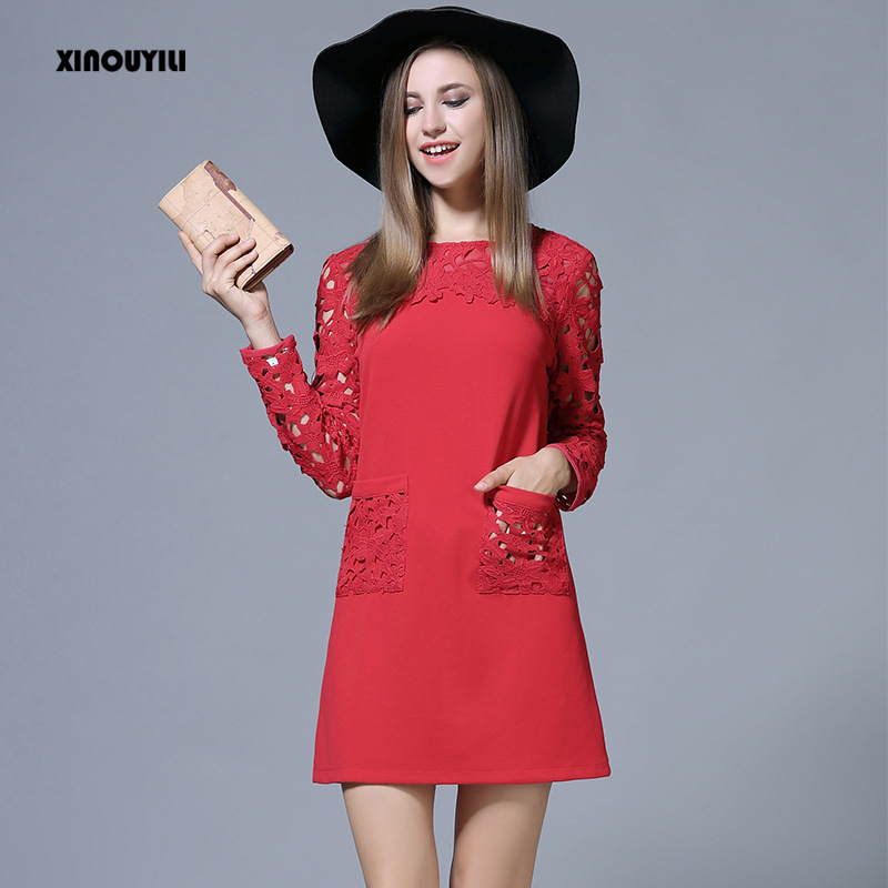 European style large size Lace dresses for big women s lace stitching dress Slim hollow Lace