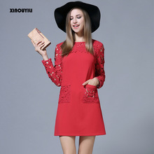 European style large size Lace dresses for big women's lace stitching dress Slim hollow Lace dresses