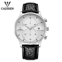 C9055 CADISEN water resistance swimming Mens watches luxury fashion business quartz mens sports leather waterproof