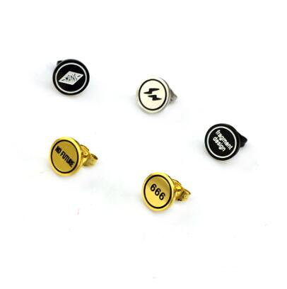 Punk Titanium Steel Letter Lightning Round Stud Earrings For Women unicorn Gold-Color Women Men Hiphop Piercing Earrings